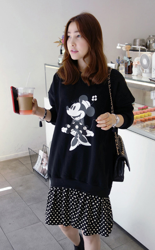 Cartoon and Dot Print Sweatshirt Dress
