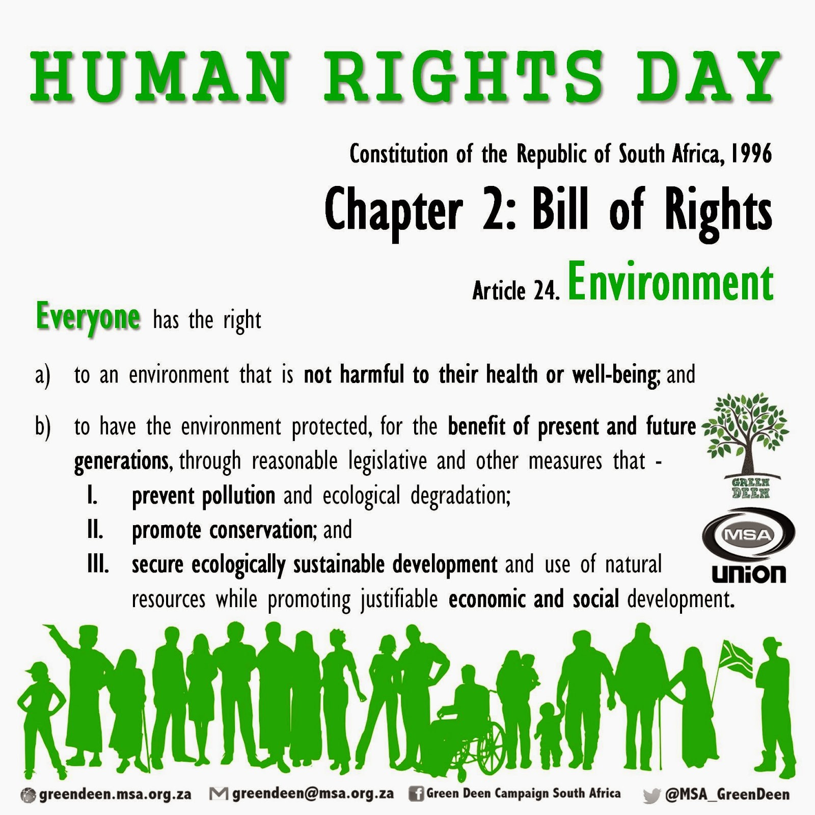 human rights in south africa Summary of the constitution of south africa, no 108 of 1996 from esst jump to:  chapter 2 contains the human rights which will be protected in south africa.