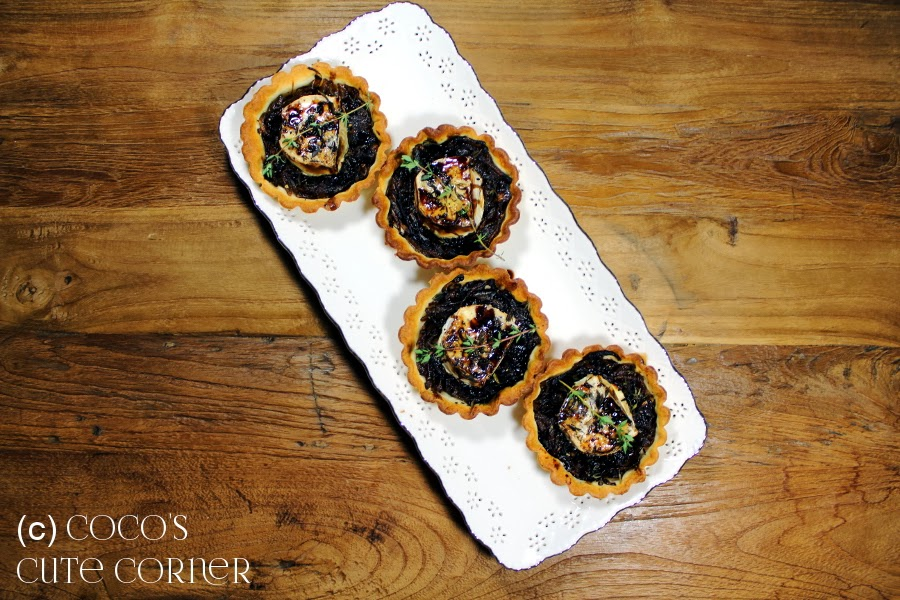 Caramelised Onion and Goat's Cheese Tartlets with Balsamic Syrup