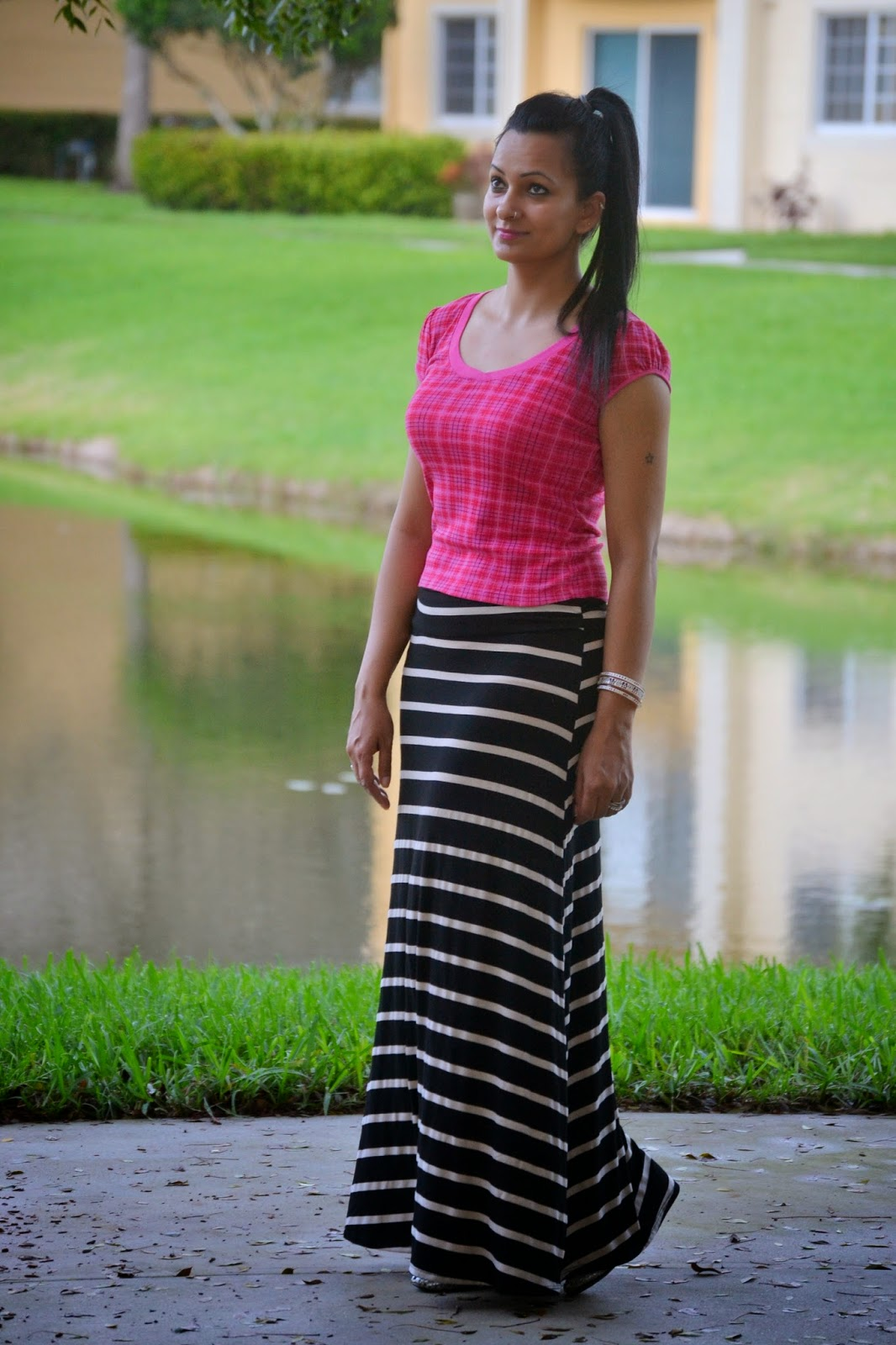 Plaid And Stripes pink plaid crop top ootd striped maxi skirt www.sandysandhu.co