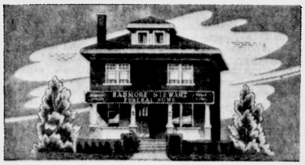 The original Radmore Stewart Funeral Home as it looked from 1930 until 1947