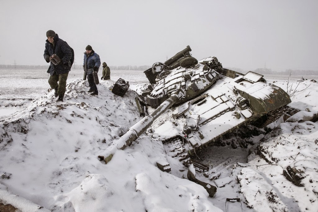 Destroyed tank in snow