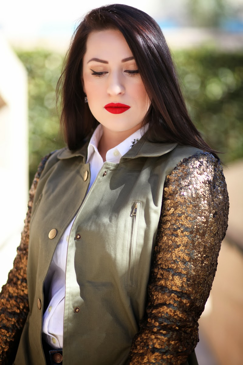 red-stila-beso-stay-all-day-lipstick-banana-republic-button-up-sequin-sleeve-jacket