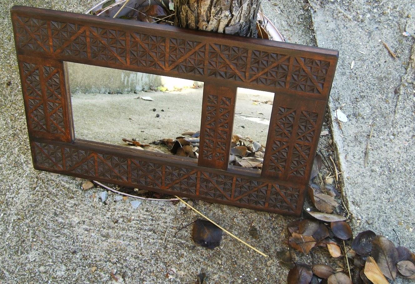 Artesan a tope y cu a espejo de madera r stico y tallado for Espejos de madera