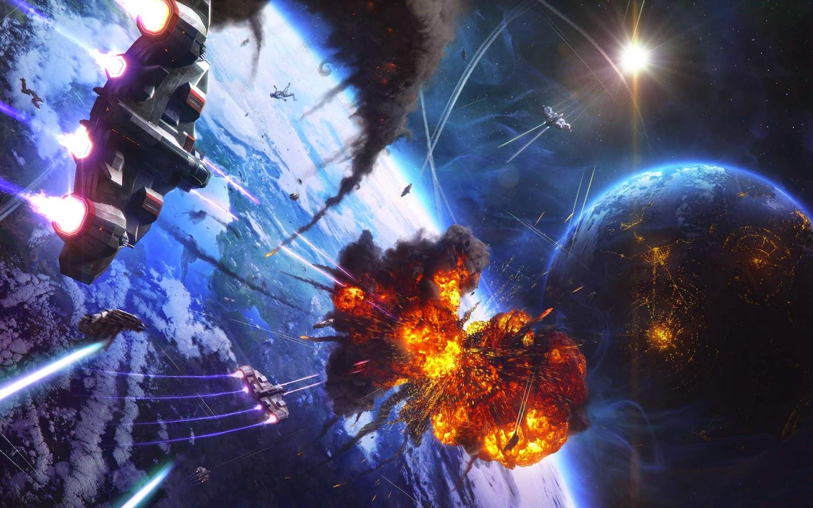 Papel de Parede Ficção Científica Batalha Espacial para pc 3d hd grátis Space desktop hd wallpaper image free