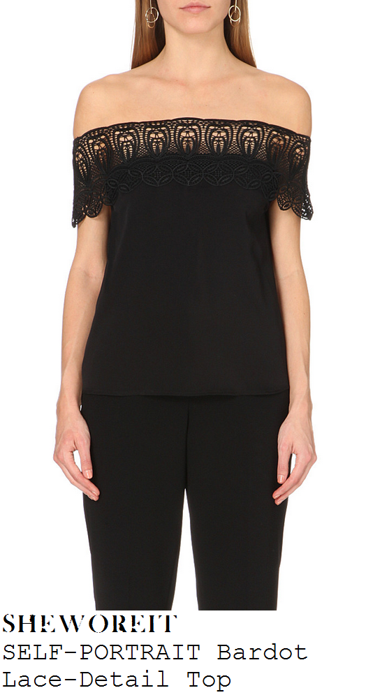 caroline-flack-black-off-the-shoulder-lace-trim-top-x-factor