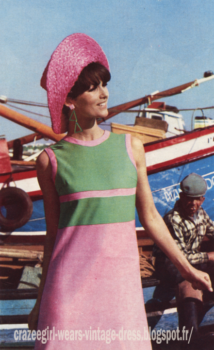 Colorblock dress - 1966 60s 1960 La redoute color block pink green