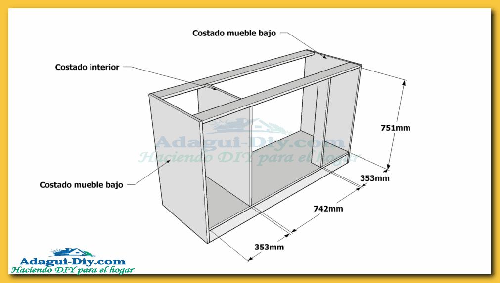 Como hacer muebles de cocina plano mueble bajo mesada de for Medidas de cocina