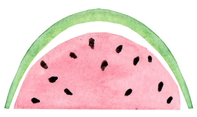 watercolour painting of a slice of watermelon