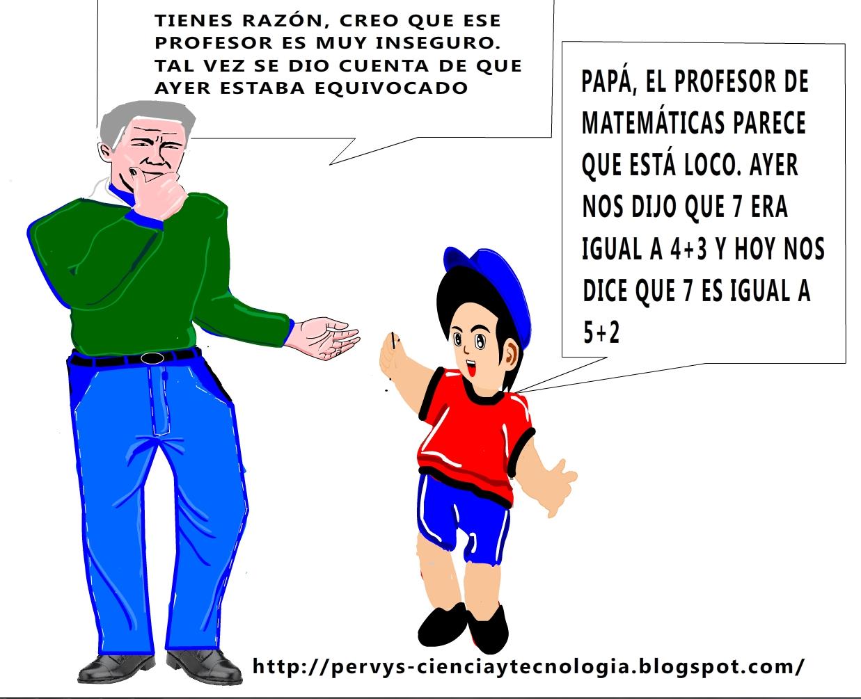CHISTE GRÁFICO: MI PROFESOR DE MATEMÁTICAS ESTÁ LOCO