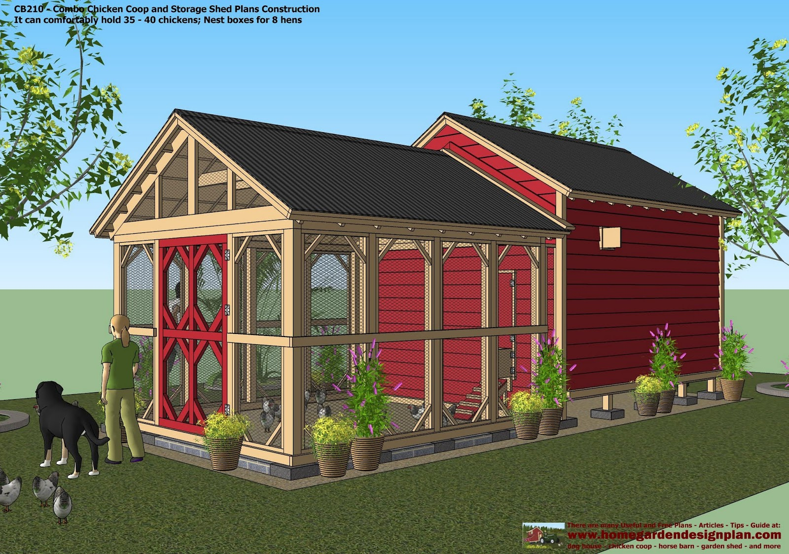 garden shed chicken co op combo - Chicken Co Op Plans And Greenhouse