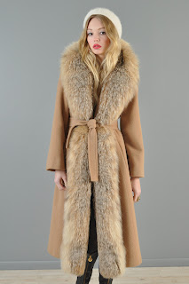 Vintage 1960's camel colored wool trench coat with mink lynx fur trim.