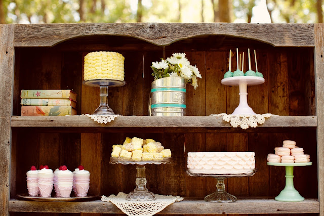 Dessert Display in a Vintage Hutch