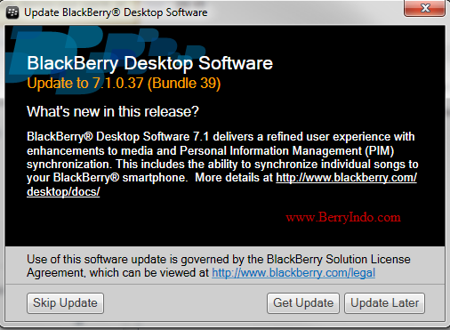Update BlackBerry Desktop Manager 7