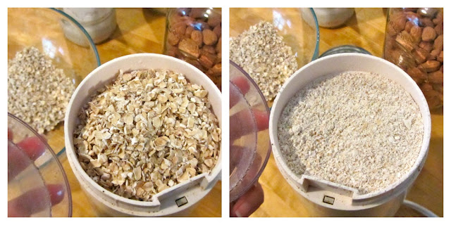 quick oats in coffee grinder and then after when they have been ground into oat flour