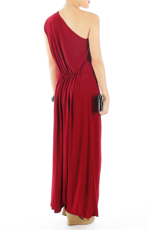 Devotion One-Shoulder Maxi Dress in Cardinal Red
