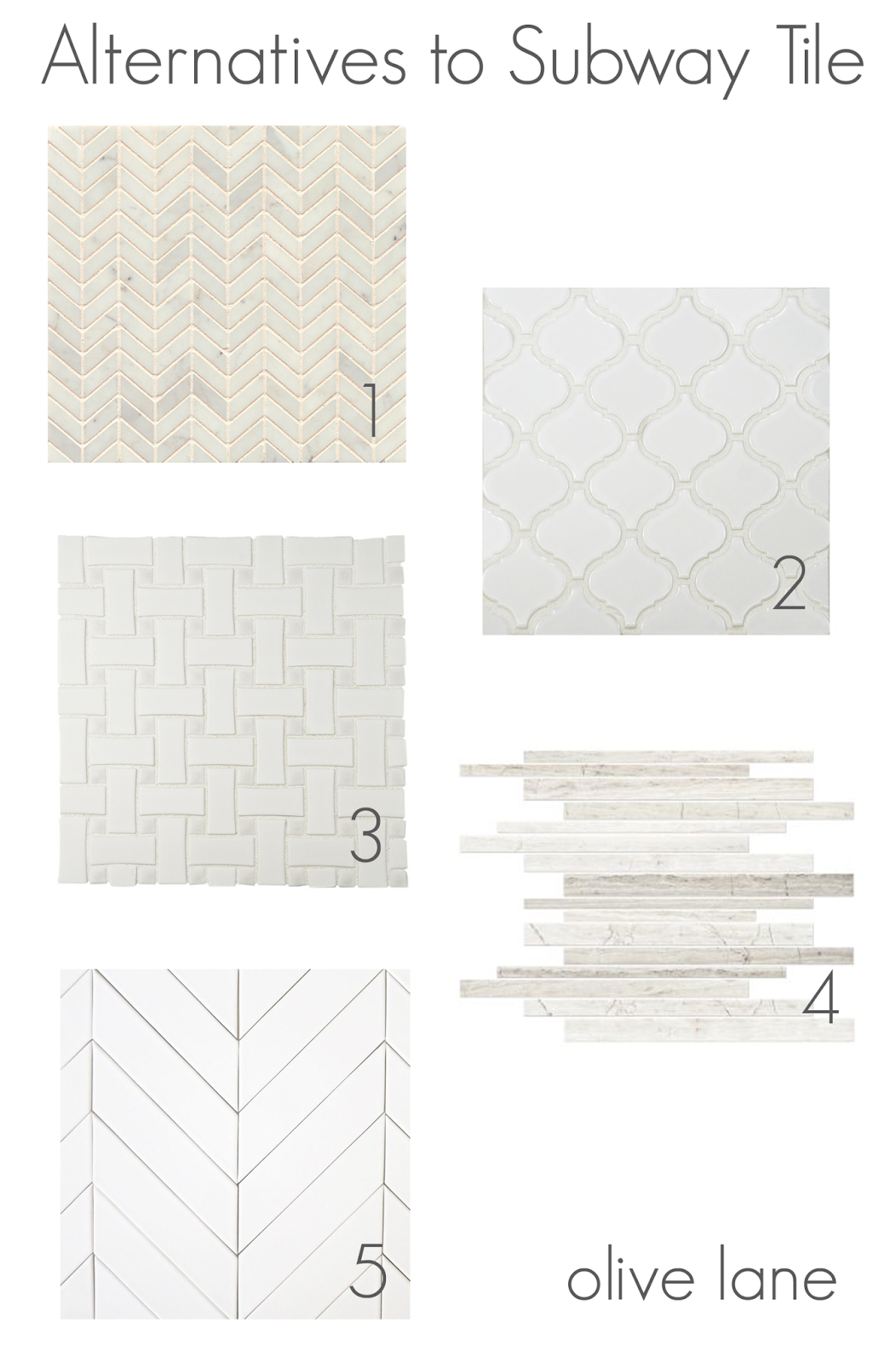 Alternative to Subway Tiles for White Kitchen Backsplash www.olivelaneinteriors.com