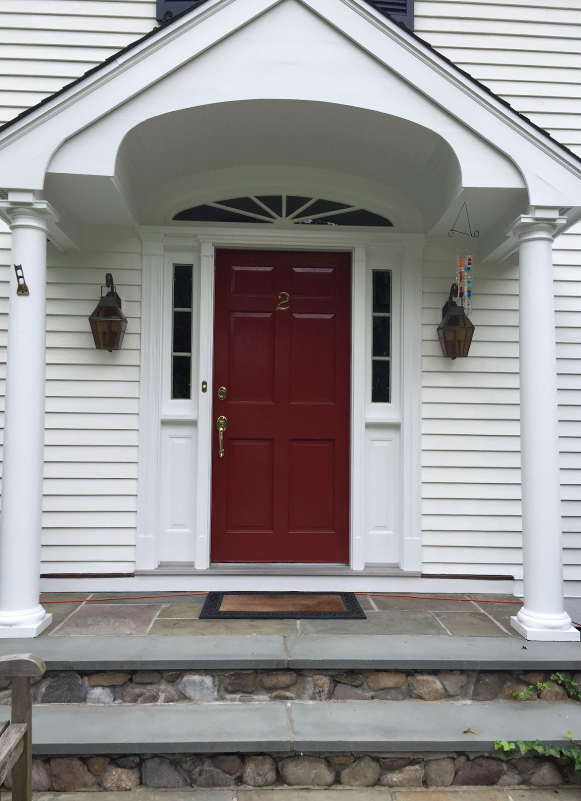 Color forte exterior paint color consultation in riverside ct with simply white hale navy for Exterior door colors benjamin moore