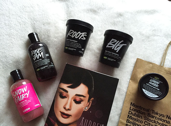 Lush products: Snow Fairy, Rose Jam, Roots, Big and Lemon Flutter.