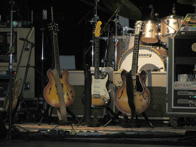 Picture of guitars the stage at Bethel Woods before the Furthur concert