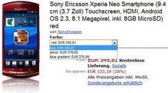 Sony Ericsson Xperia Neo spotted at Amazon.de