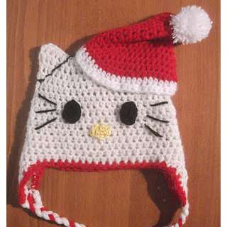 Hello Kitty Santa crochet hat for Christmas and Winter