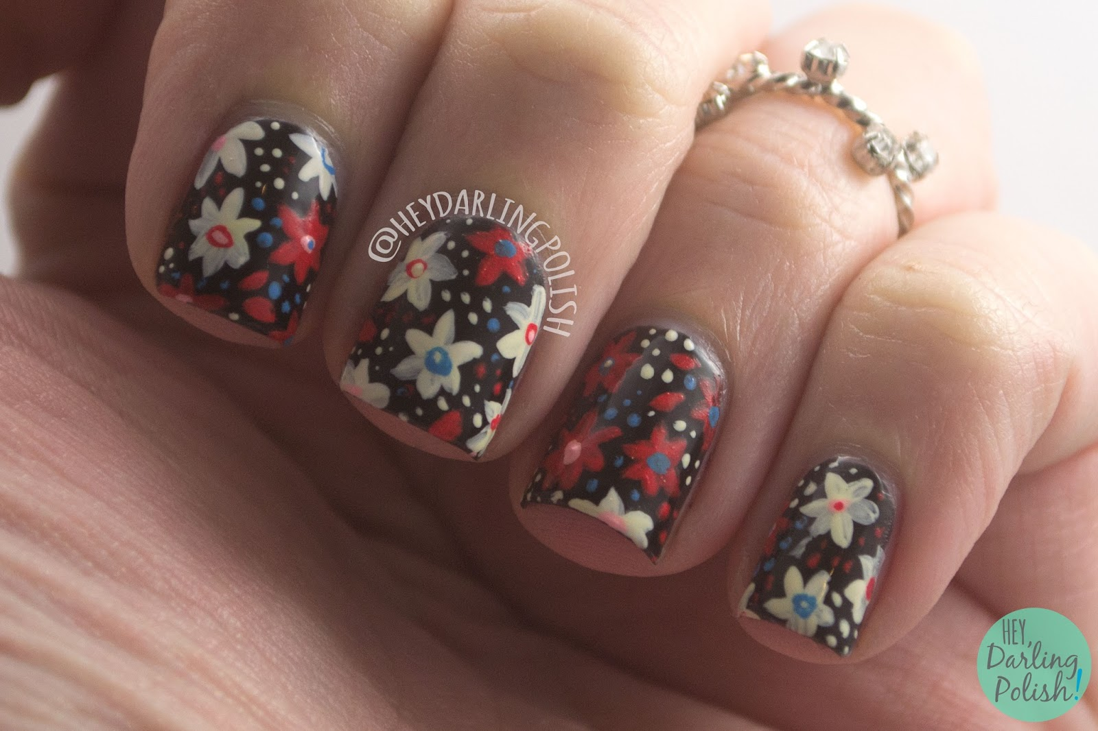 nails, nail art, nail polish, floral, flowers, red, blue, black, hey darling polish, pattern