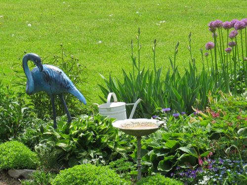 blue flamingo garden ornament
