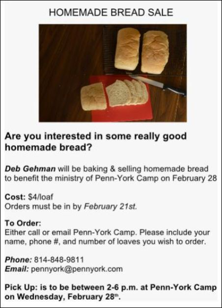 2-21 Order Deadline For Homemade Bread