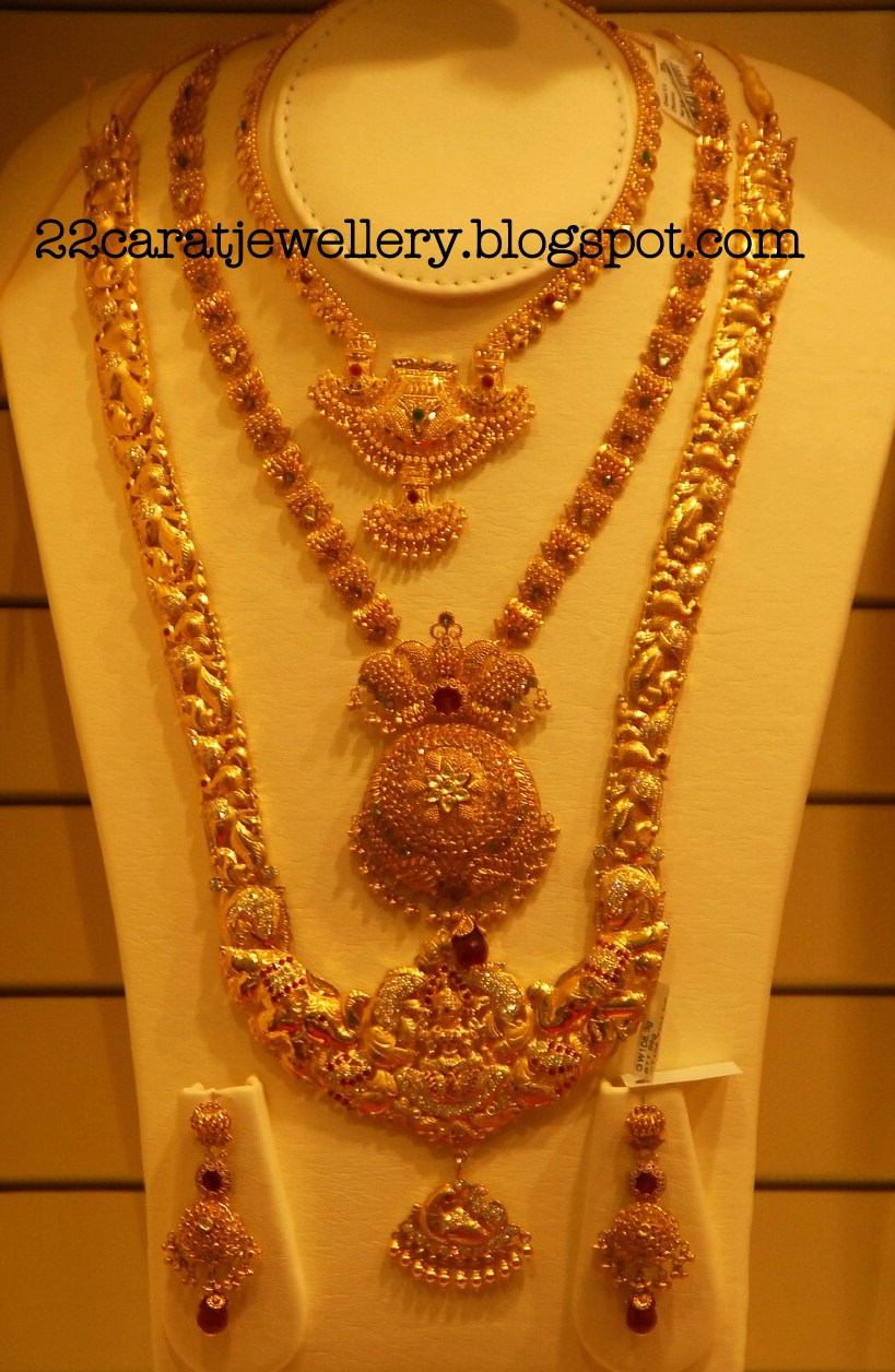 Kalyan Jewellers Gold Plain and Antique Bridal Necklace Sets ...
