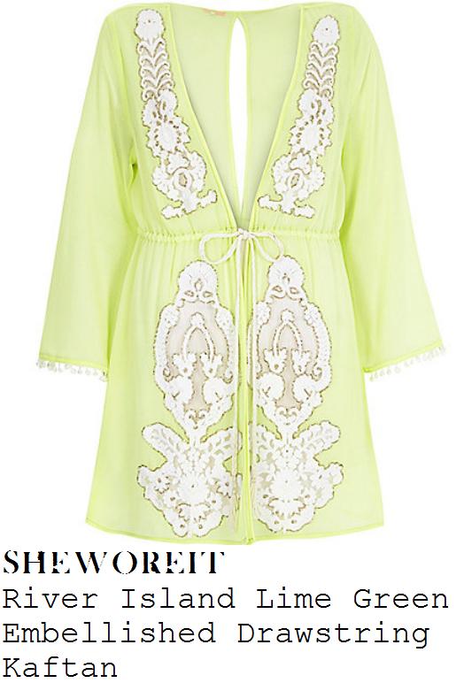 lindsay-lohan-lime-green-sheer-embellished-kaftan-cover-up