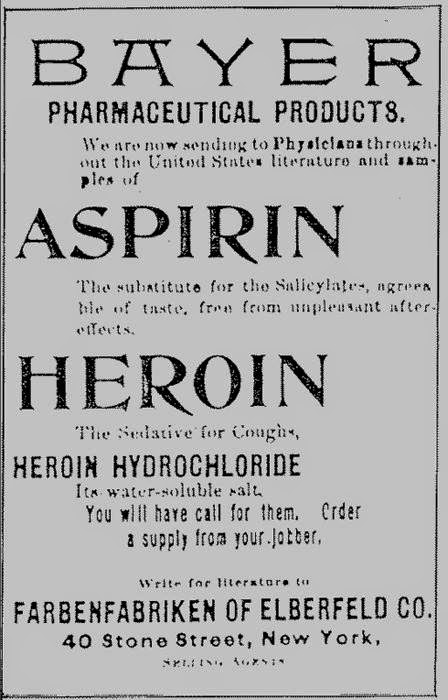 Bayer Aspirin and Bayer Heroin in the same advertisement
