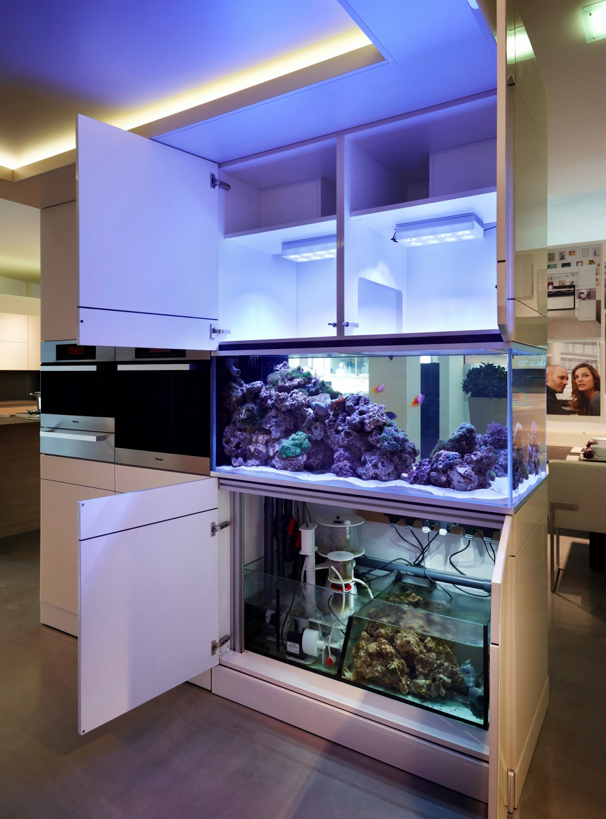 Aquafront aquarium showing plumbing and ventilation within Poggenpohl cabinetry.