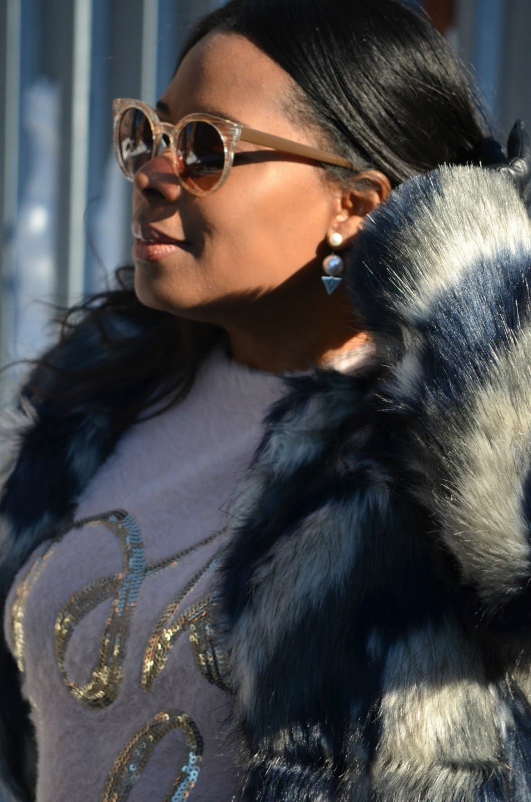 Illesteva-Cat-eye-Sunglasses+Zigzag Fur Coat