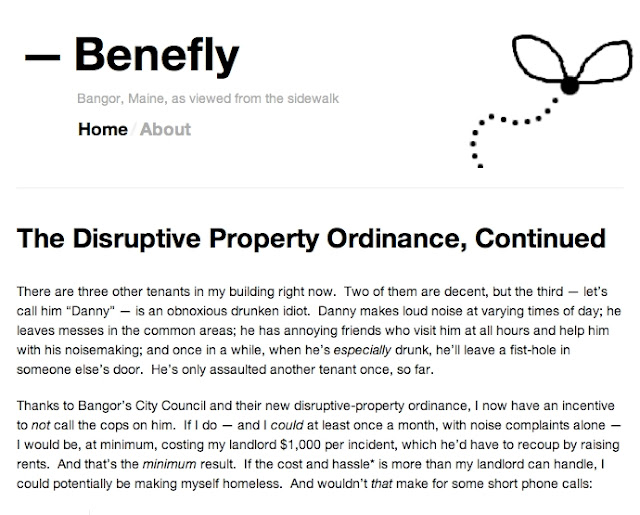 Benefly,Bangor,Maine,blogger,disruptive_properties_ordinance