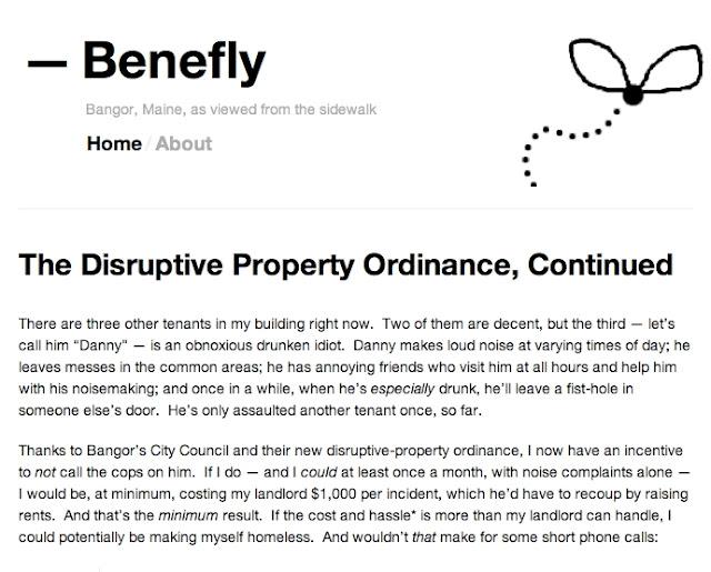 Benefly,Bangor,Maine,blogger,disruptive_properties_ordinance