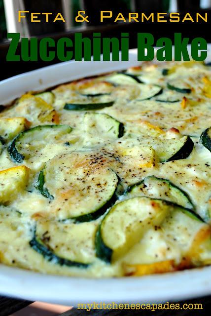 Feta and Parmesan Zucchini Squash Bake