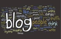 The word Blog surrounded by related words in a word cloud