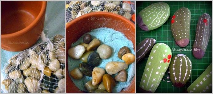 cómo hacer cactus con piedras