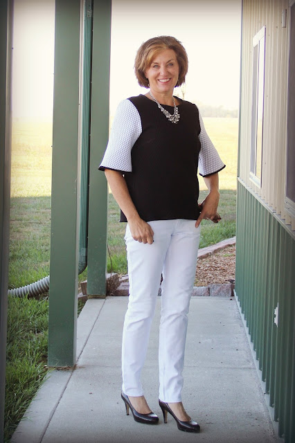 Mood Fabrics' white denim for Ginger jeans and quilted knit for Butterick 6175