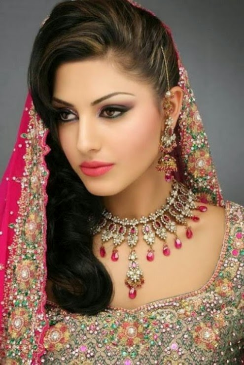 Exclusive Pakistani Indian Hairstyle 2014 For Bridal Wedding Latest Fashion Hair Cuts For