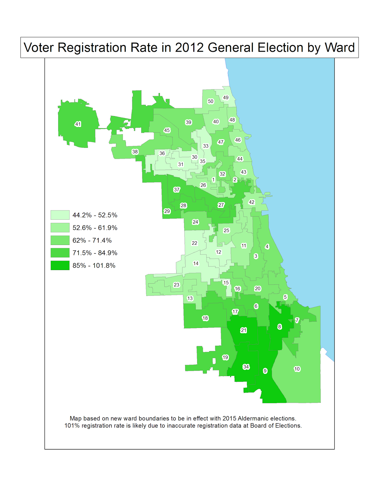 chicago ward voter registration rate and voter turnout rate chicago data guy