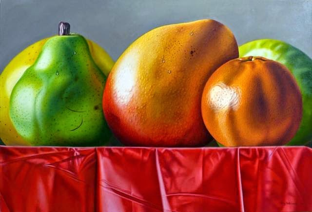 Bright paintings in the style of photorealism by Ellery Gutiérrez