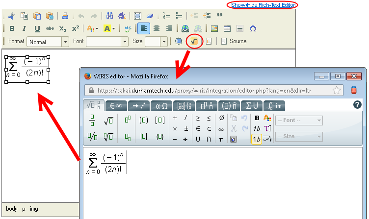 click square root icon to bring up wiris editor