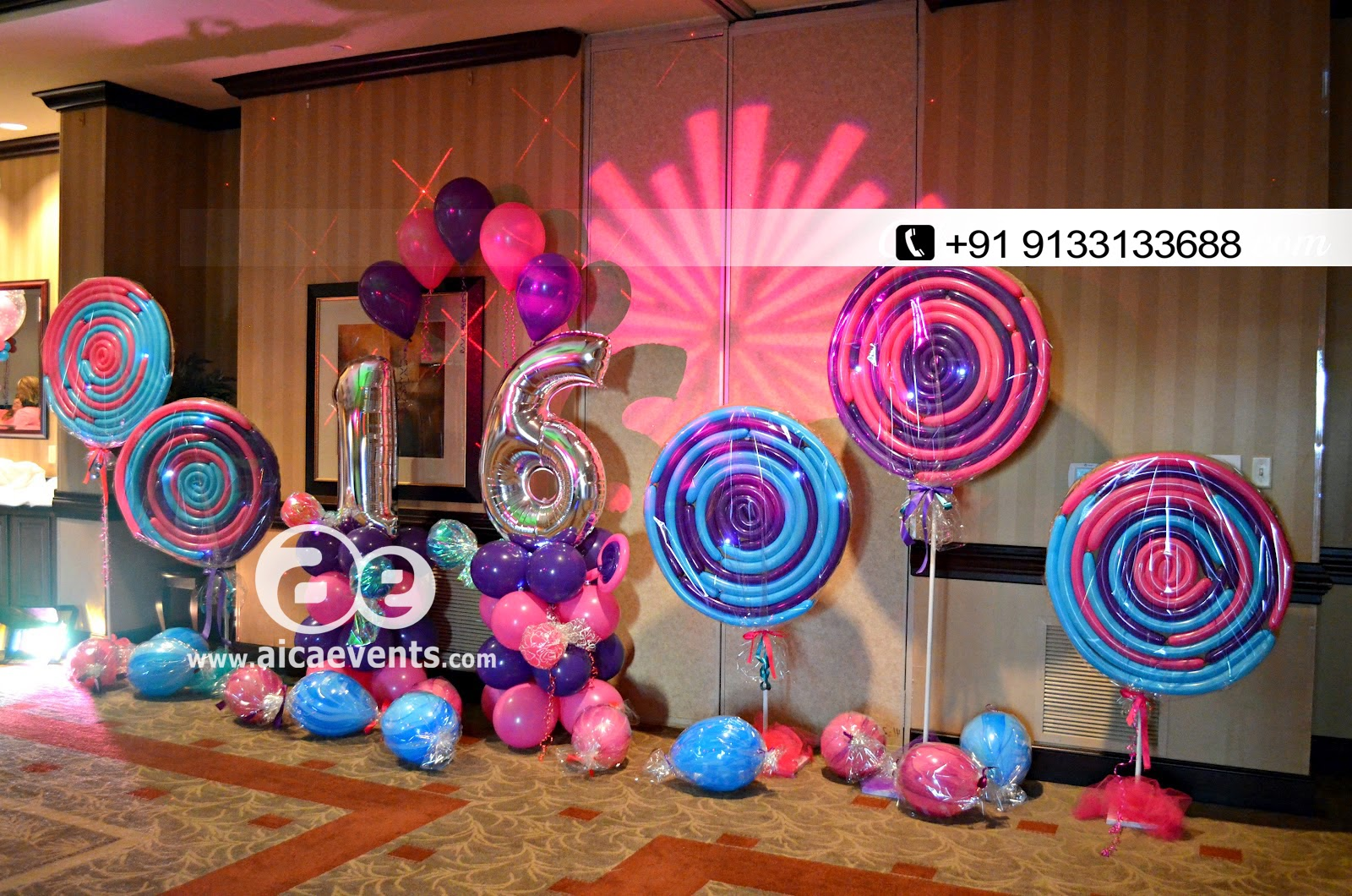 Aicaevents candy theme decorations at hyderabad