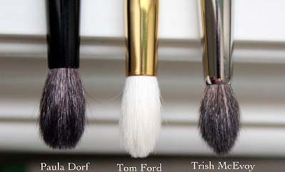 Paula Dorf Perfect Sheer Crease Brush,  Trish McEvoy #29 Tapered Blending Brush, Tom Ford 13 Eye Shadow Blend Brush