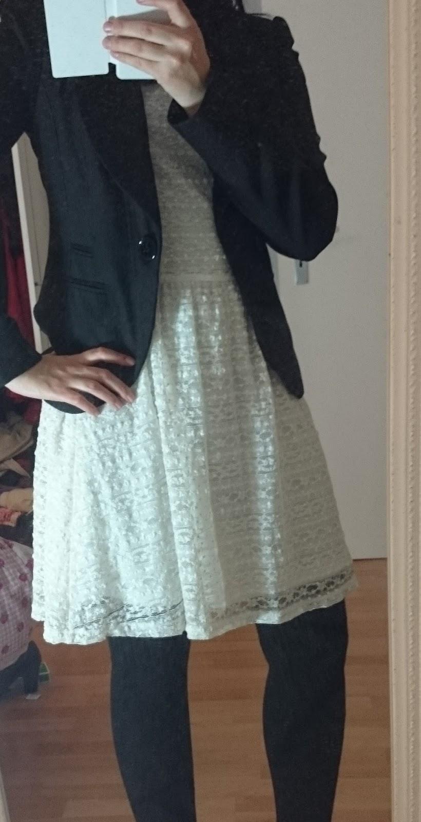 Outfit Spitzenkleid Blazer Strickstrumpfhose