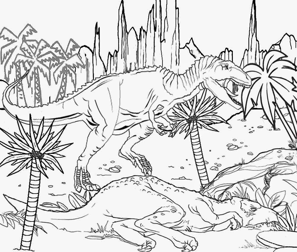 Real looking dinosaur coloring pages - Cretaceous Period Scavenger Meat Eating Dinosaur Giganotosaurus Worlds Largest Carnivorous Coloring