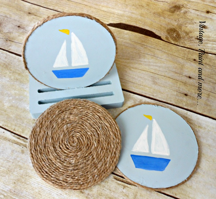 Vintage, Paint and more... DIY nautical coasters with a twine wrapped side and a stenciled side