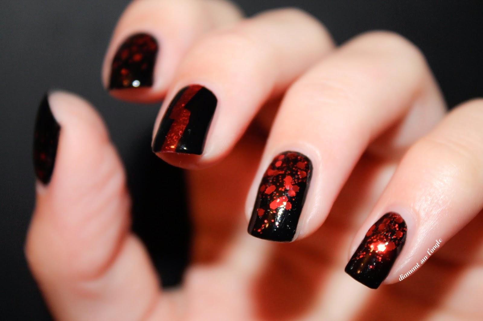 nail art noir et rouge